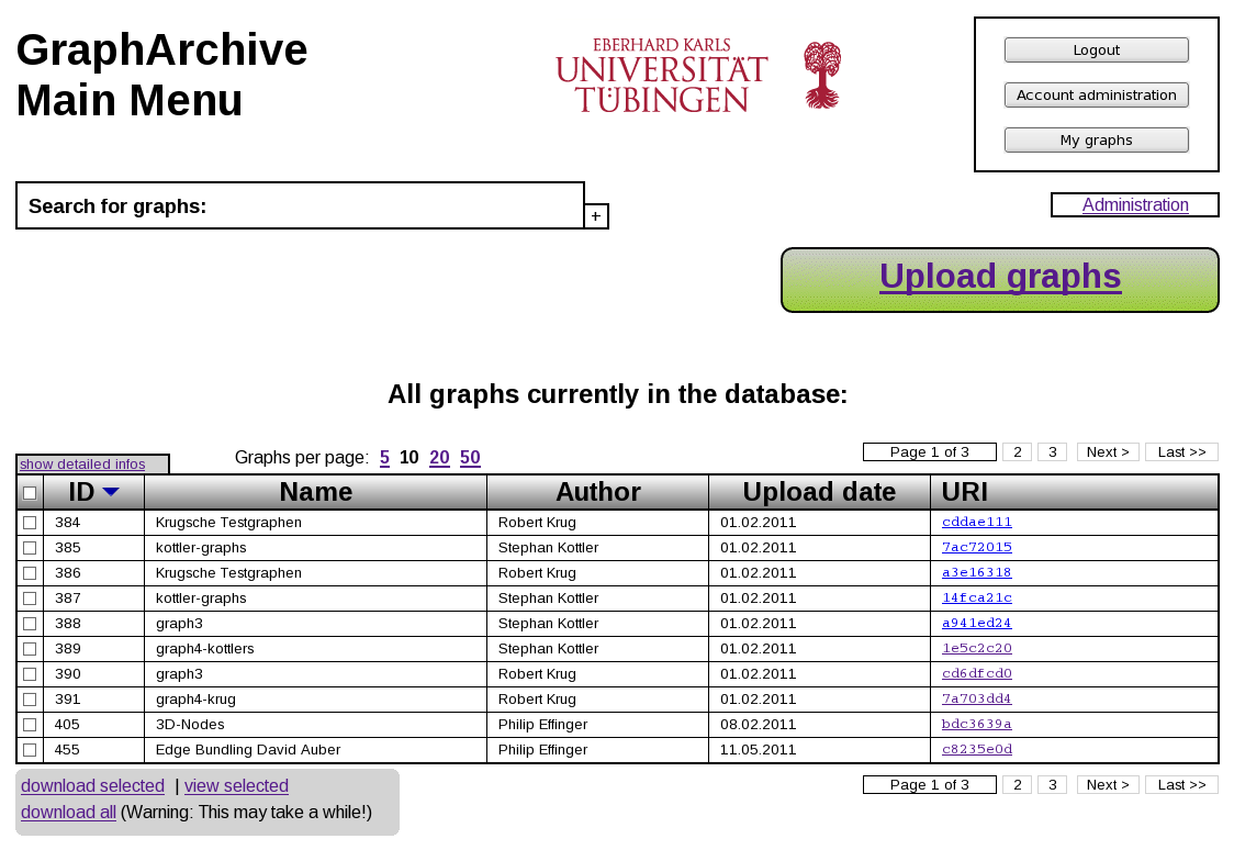 Screenshot of GraphArchive