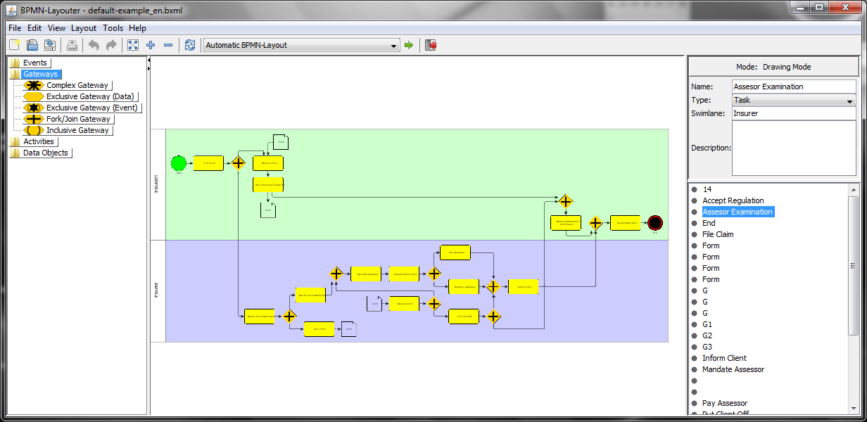 Screenshot of BPMN-Layouter